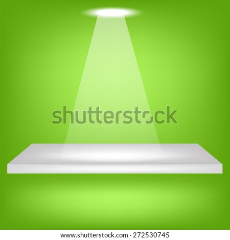 Vector Single Empty Shelf Isolated on Green Background - stock vector