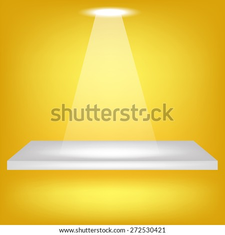 Vector Single Empty Shelf  on Yellow Background. Spotlight Illuminated the Empty Shelf. - stock vector