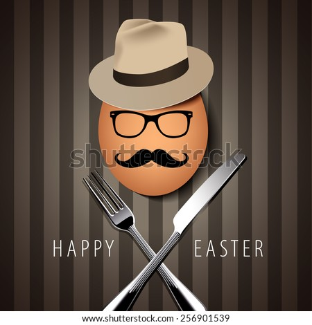 Vector Single Hipster Egg on with Knife and Fork on Brown Background - stock vector