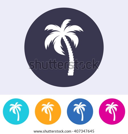 Vector single palm tree icon on colorful buttons - stock vector