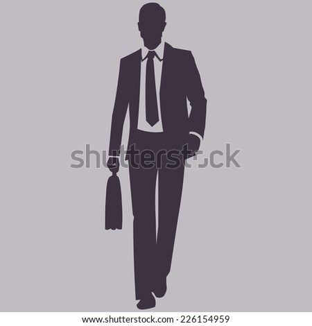 Vector Single Silhouette of Business Man. Man with Briefcase are Walking. Front View. - stock vector