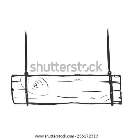 Vector Single Sketch Hanging Signboard - stock vector