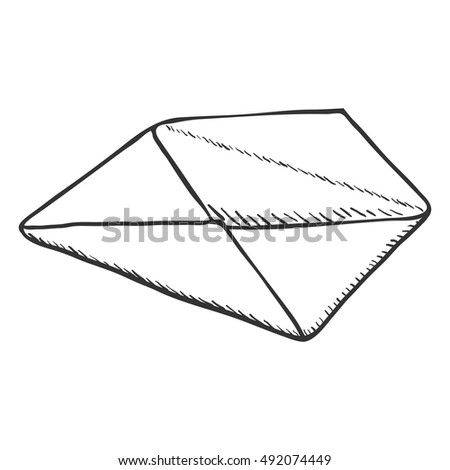 Vector Single Sketch Open Postal Envelope
