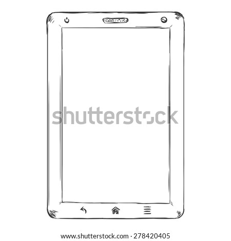 Vector Single Sketch Tablet PC with Blank Display - stock vector