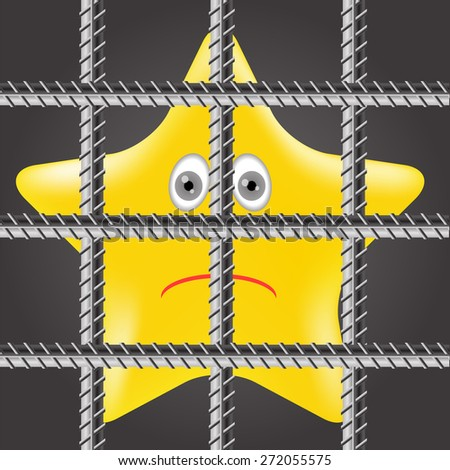Vector Single Yellow Star is Behind Prison Bars - stock vector