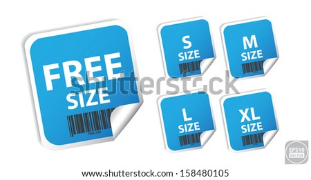 Vector: Size clothing blue labels. Eps10. - stock vector