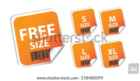 Vector: Size clothing orange labels. Eps10. - stock vector
