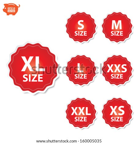 Vector: Size clothing XL, XXL, XS, XXS, S, M and L red labels. EPS10. - stock vector