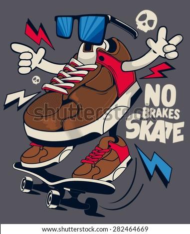 vector skater sneakers  - stock vector