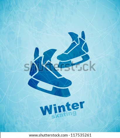 Vector skates background - stock vector