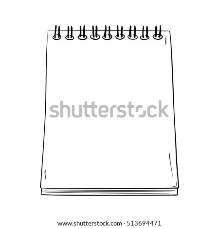 Vector sketch a notepad with spring. Hand draw illustration.