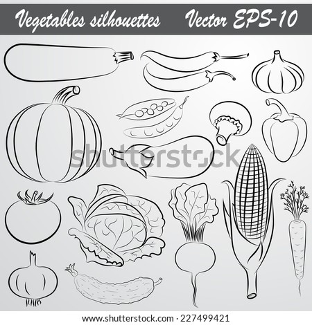 Vector sketch abstract drawing set of vegetables - stock vector