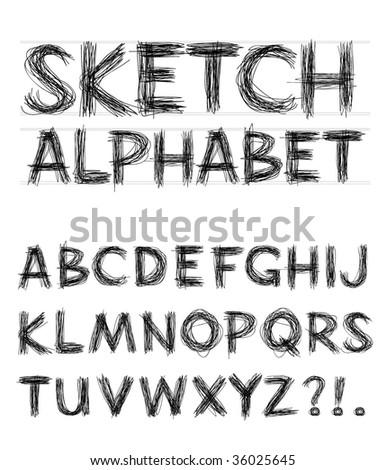Vector Sketch Alphabet - stock vector