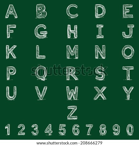 Vector Sketch Alphabet with Numbers. Chalk on Blackboard - stock vector