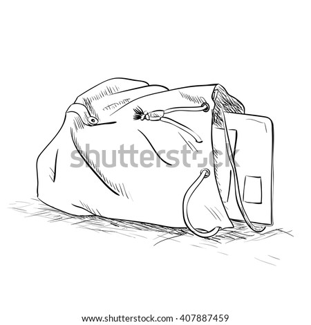 Vector sketch bag with a tablet inside. Hand draw illustration.
