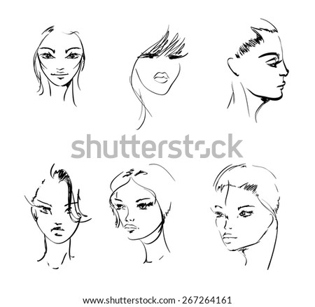 Vector Sketch. Beauty girl face on a white background - stock vector