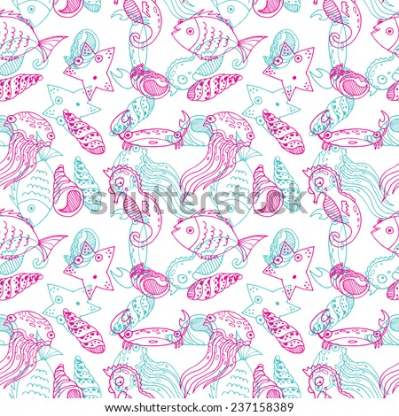Vector sketch cartoon sea animals. Hand drawn coloring. Fish, starfish, crab, jolly fish, sea horse. Set. Seamless pattern. Background.
