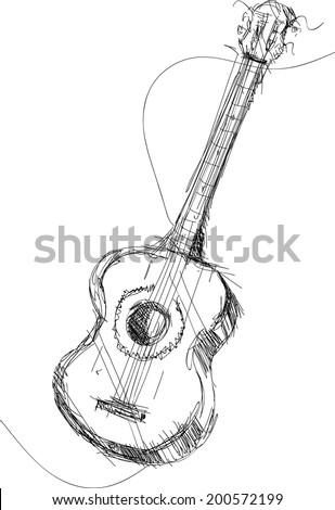 vector sketch classic guitar - stock vector