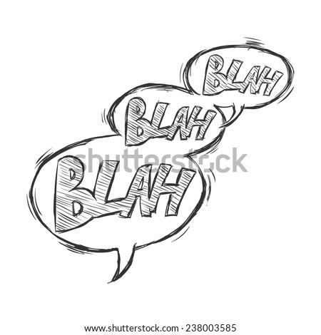 Vector Sketch Comics Bubbles - Blah-Blah-Blah - stock vector