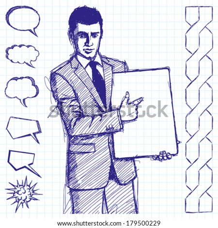 Vector sketch, comics style businessman holding empty write board in his hands - stock vector