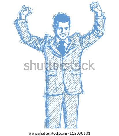 Vector Sketch, comics style happy businessman with hands up, celebrating his victory - stock vector
