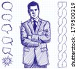 Vector sketch, comics style man businessman in suit, with folded hands, looking on camera - stock photo