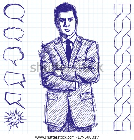 Vector sketch, comics style man businessman in suit, with folded hands, looking on camera - stock vector
