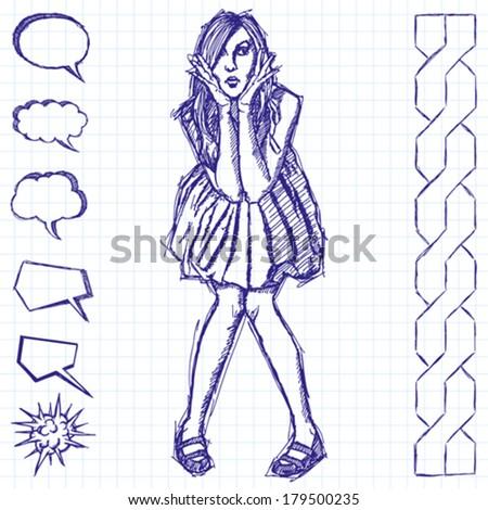 Vector sketch, comics style surprised blonde woman  in dress - stock vector