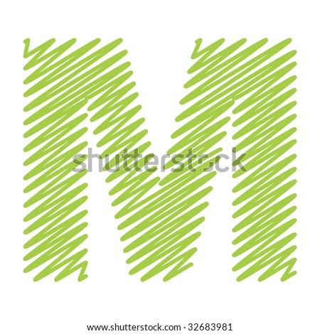 vector sketch design alphabet letter M - stock vector