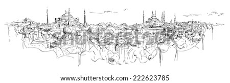 vector sketch drawing istanbul silhouette - stock vector