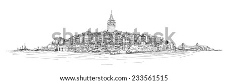 vector sketch drawing panoramic galata tower - stock vector