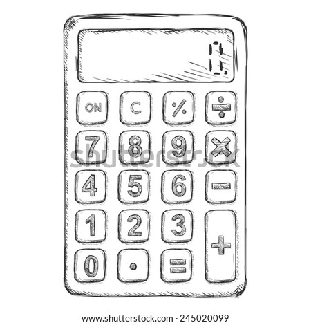 Vector Sketch Flat Calculator - stock vector