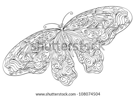 Vector sketch floral butterfly