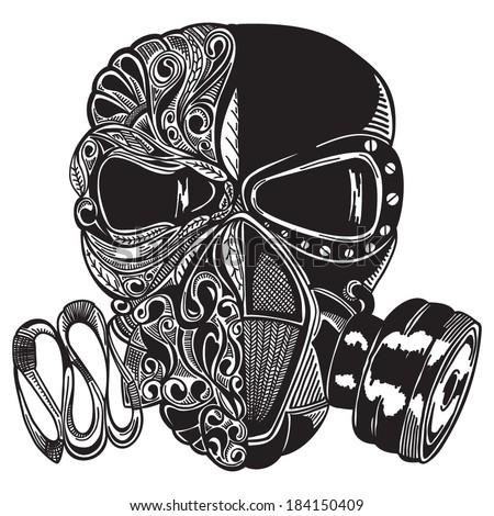 Vector sketch gas mask - stock vector