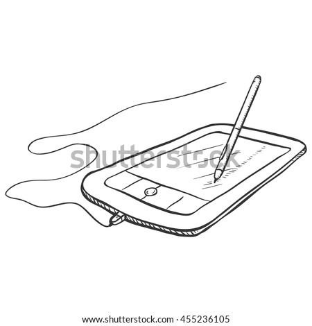 Vector Sketch Graphic Tablet with Stilus Pen - stock vector