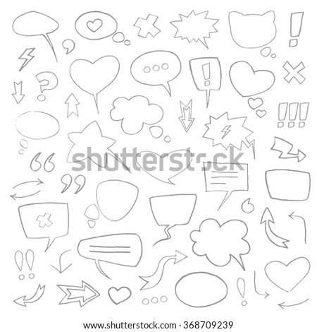 Vector sketch grey speech bubbles collection set isolated on white background.  - stock vector