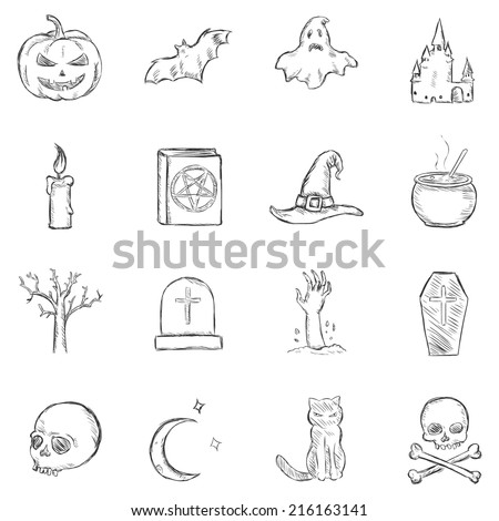 Vector Sketch Halloween Icons - stock vector
