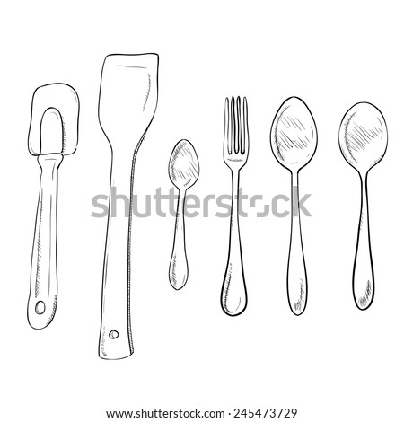 Vector sketch hand drawn illustration of kitchen utensils - stock vector