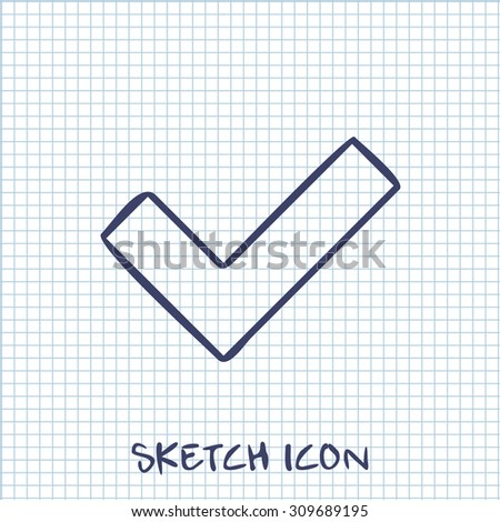 Vector sketch icon of check  - stock vector