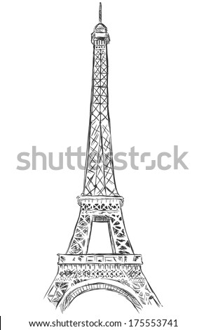 vector sketch illustration - Eiffel Tower