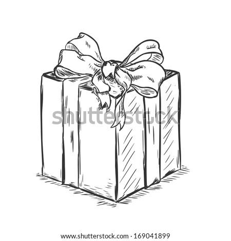 vector sketch illustration - gift box - stock vector