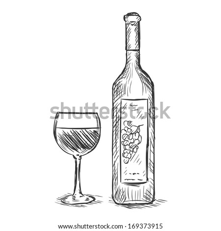 vector sketch illustration - glass and bottle of red wine - stock vector