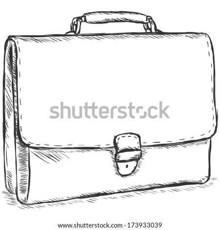 vector sketch illustration - leather briefcase - stock vector