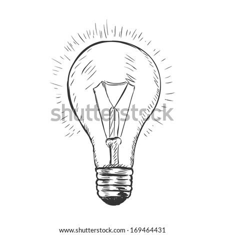 vector sketch illustration - light bulb - stock vector