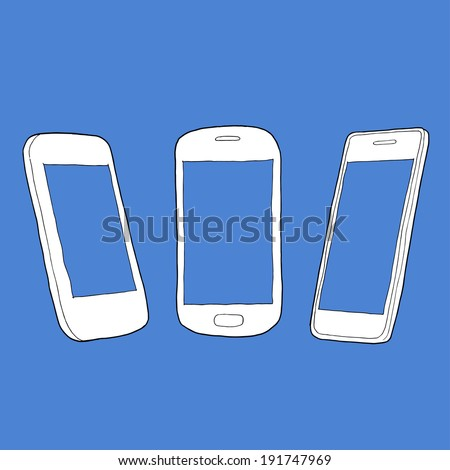 Vector sketch Illustration of a set of outline mobile phones - front and angled side view - stock vector