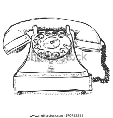 Vector Sketch Illustration - Old Rotary Phone - stock vector