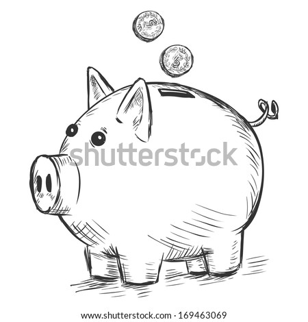 vector sketch illustration - piggy bank - stock vector