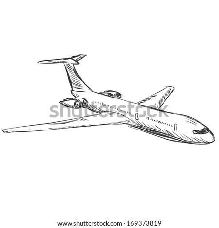 vector sketch illustration - plane - stock vector