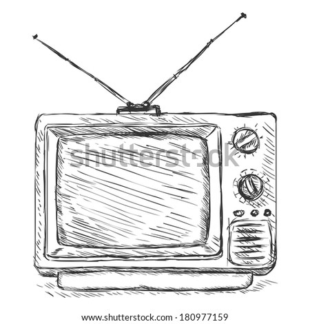 Vector Sketch Illustration - Retro TV - stock vector