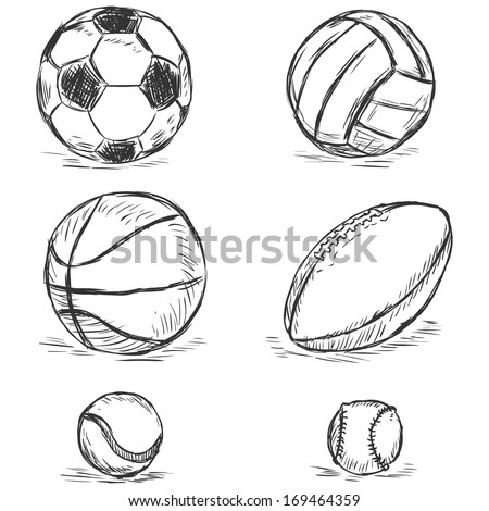 vector sketch illustration - sport balls: football, volleyball, basketball, rugby, tennis, baseball - stock vector